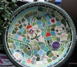 image of mosaic birdbath bowl interior