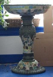 image of mosaic birdbath sideview
