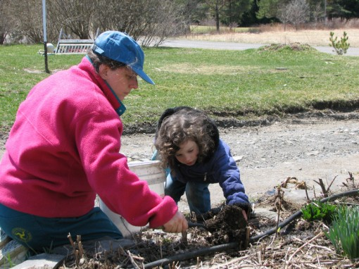 Mother and daughter gardening - photo by Cadie