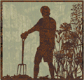 Image of a gardener in silhouette