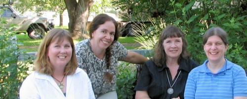 Image of four middle-aged women, all garden bloggers
