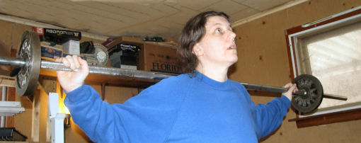 Kathy lifting weights  - Photo by Cadence Purdy January 31, 2007
