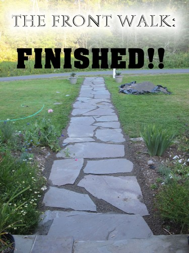 The dry-laid stone walk to our front door is finished!