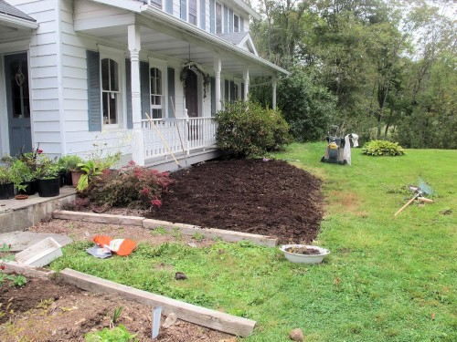 The rotted manure has been raked smooth over this new garden bed.