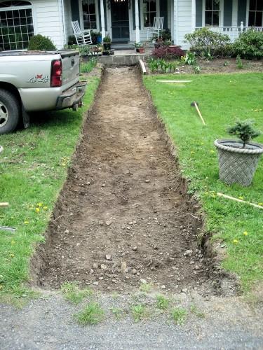 excavation for stone walk