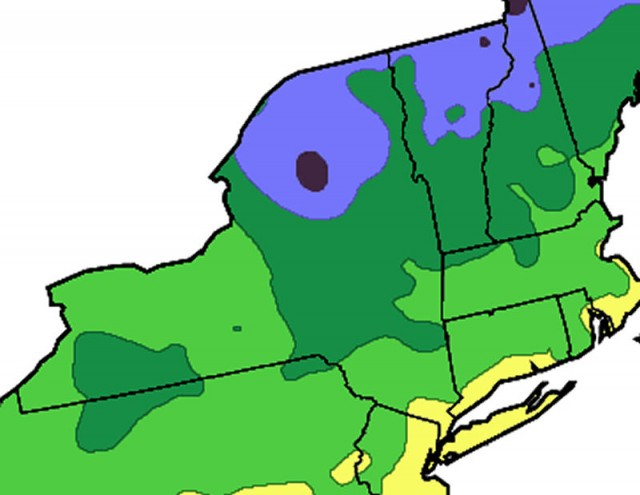 The hardiness zone map for New York created by the Arbor Day Foundation in 2006