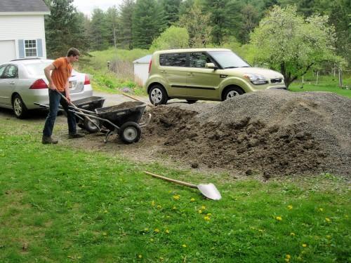 shoveling stone into a wheelbarrow