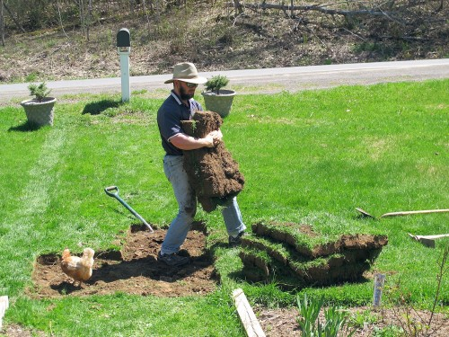man carrying sod to pile