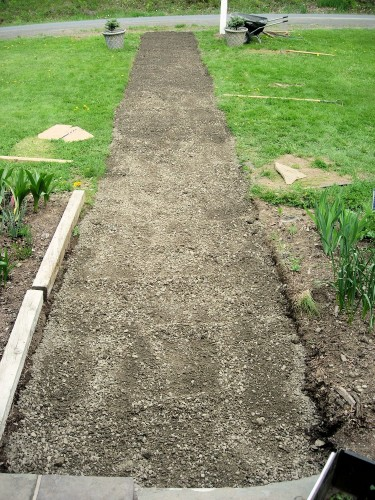The crushed stone sub-base has been raked smooth.
