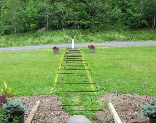 proposed paver outlines superimposed on lawn