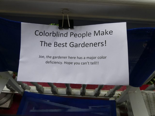 color blind gardener