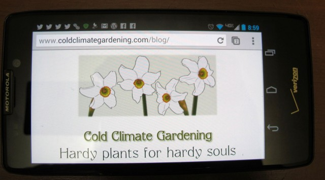 Cold Climate Gardening on a tablet