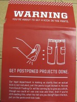 Kick in the pants box label