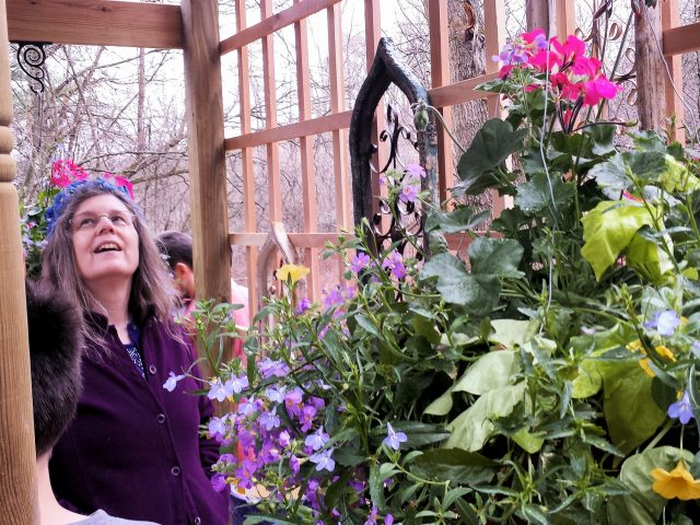 Kathy Purdy seeing her birthday garden shelter for the first time