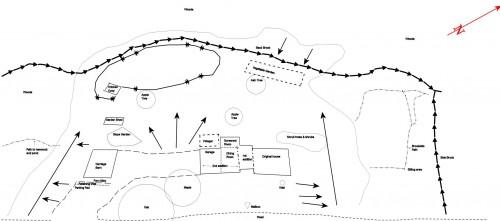 line map showing landscape features