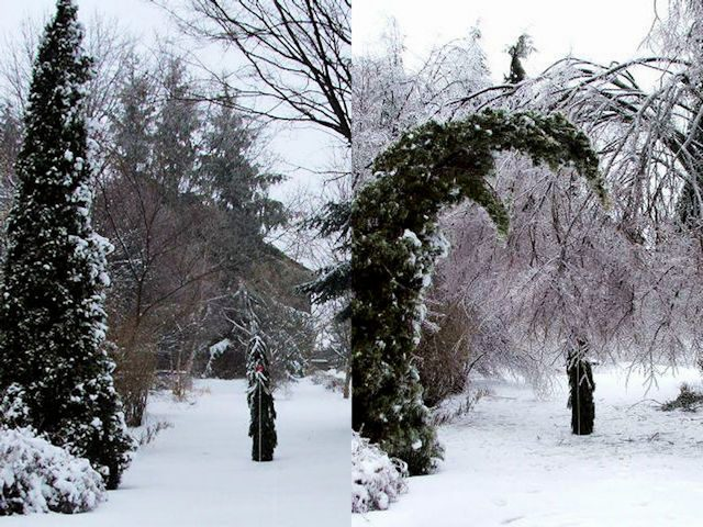 The barnyard entrance: on the left, as it looked on March 20, 2016. On the right, as it looked on March 25. Photo ©Brian Bixley