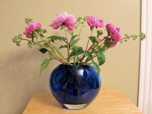 Peonies and garden valerian in a pleasing bouquet