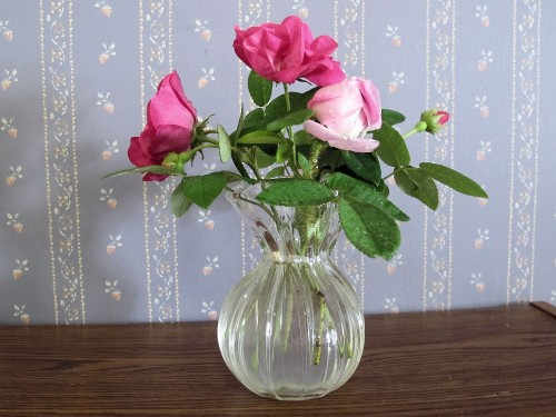 Three short stemmed roses make a sweet bouquet.