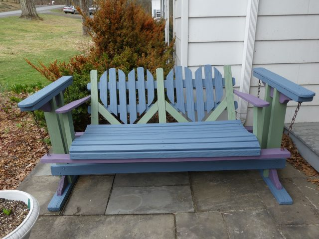 Adirondack glider painted in three colors