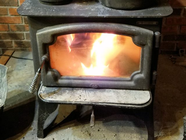 fire in woodstove