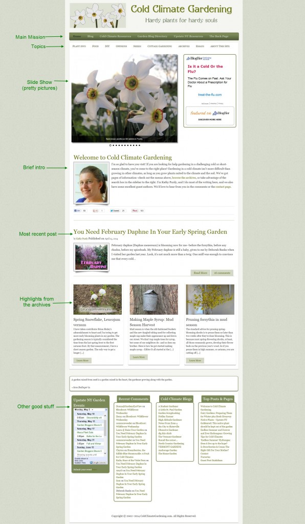 front page screenshot of ColdClimateGardening.com