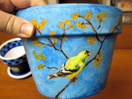 goldfinch painted on a clay pot