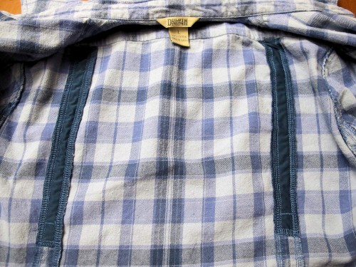 Darts on inside of Duluth Trading flannel shirt
