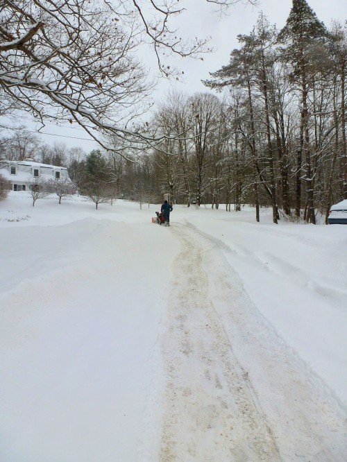 long snowy driveway, man with snowblower