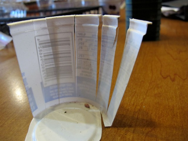 plant labels from plastic yogurt containers