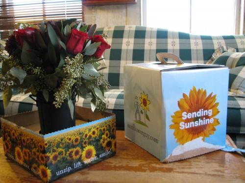 Opened Box of flower arrangement