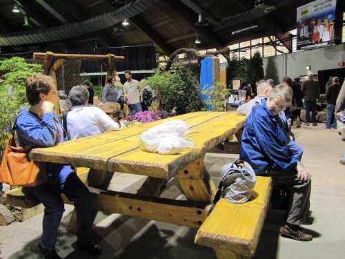 Huge picnic table at Rochester garden show