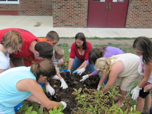 children planting a school garden