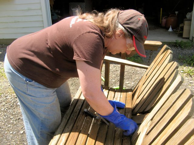 restoring outdoor wooden furniture