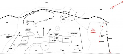 line map of our property - showing secret garden