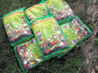 bags of Seven Year Gold composted horse manure