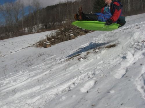 sled jump winter walk