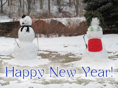 snow couple happy new year text