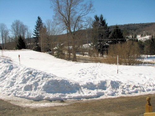 Snow covered ground in March