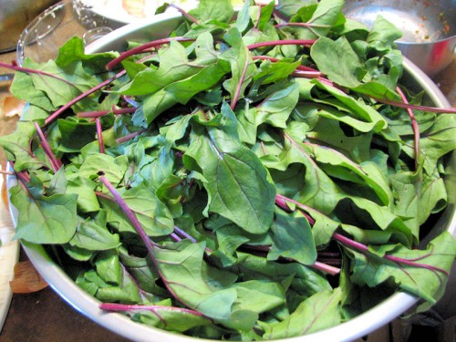 huge bowl of bordeaux spinach
