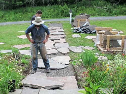 Building a stone walk is like putting together a puzzle.