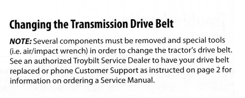 Troy-Bilt Transmission Drive Belt repair