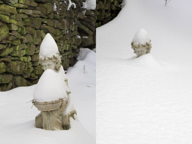 Two snowy views of one statue