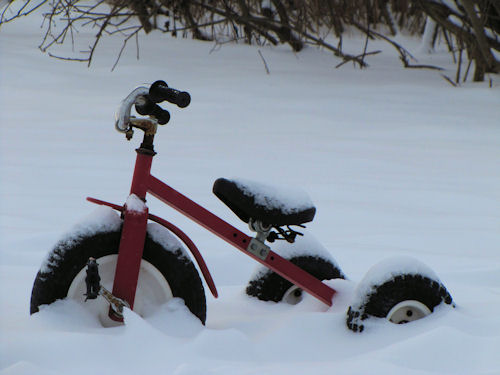 snow covered trike