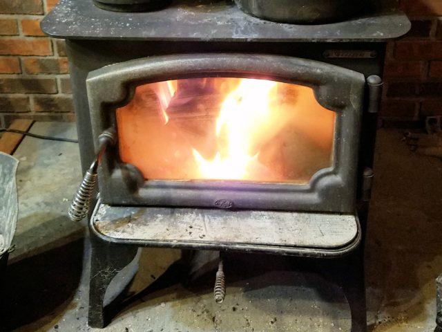 fire in woodstove